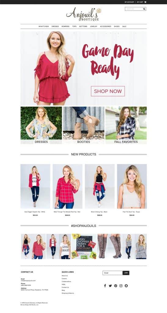Anjouil's Boutique Web Design