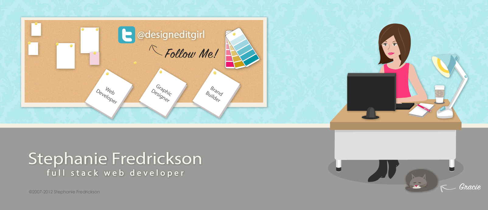 Facebook cover photo with a girly illustration