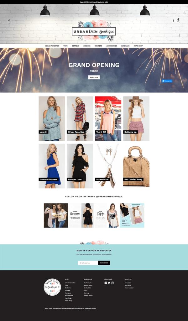 Urban Dixie Boutique Custom Shopify Website