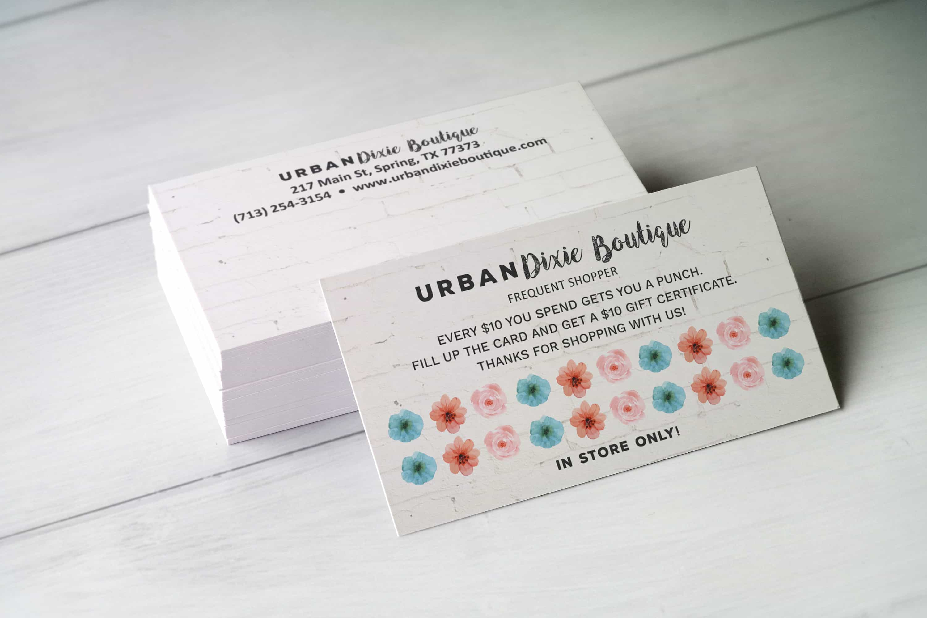 Boutique Custom Design for Urban Dixie Boutique Loyalty Card